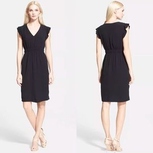 Kate Spade Fluid Crepe Flutter Sleeve Black Dress